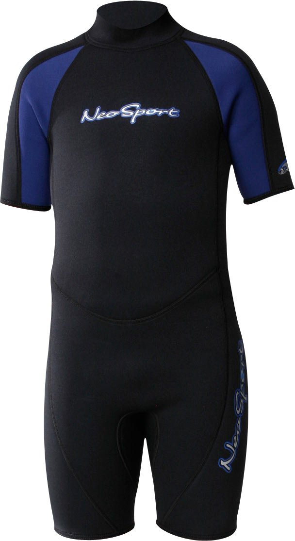 NeoSport Wetsuits Youth Premium Neoprene 2mm Youth's Shorty, Blue Trim, 6 - Diving, Snorkeling & Wakeboarding by Neo-Sport