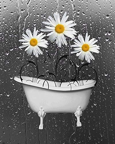 Yellow Gray Bathroom Daisy Flowers Wall Art Print, Decorative Floral Bath Artwork, Matted Picture