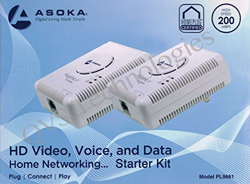 2 PLUGLINK / POWERLINE 9661 ASOKA ETHERNET ADAPTER - 200MBPS by Asoka
