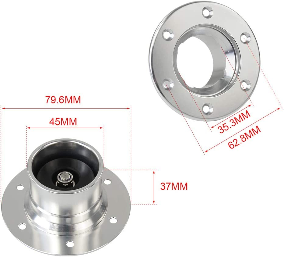 PQY Billet Aluminum Aircraft Style Fuel Cell Gas Cap with 6 Hole Anodized