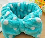Women Fashion Cute Pink Heart Bowknot Bow Makeup Cosmetic Shower Elastic Hair Band Hairlace Headband [Blue Dot]