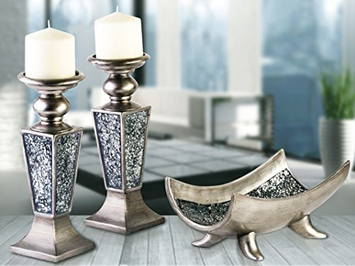 Creative scents schonwerk pillar candle holder set of 2 for Dining table centerpieces for sale