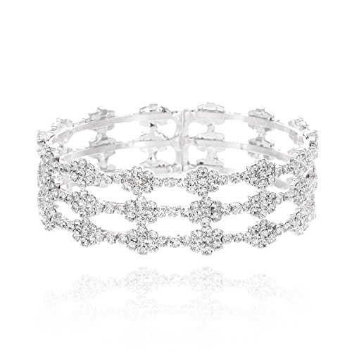 SP Sophia Collection Women Wedding Bridal Silver Delicate Rhinestone Pave Bangle Bracelet