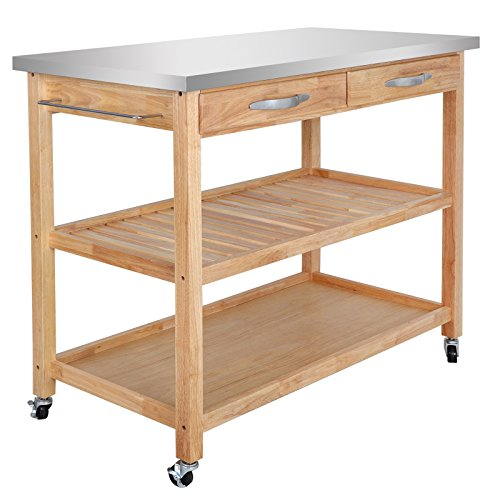 SUPER DEAL Zenchef Rolling Kitchen Island Utility Kitchen Serving Cart w/Stainless Steel Countertop, Spacious Drawers and Lockable Wheels, Natural (Upgraded Stainless Steel) by SUPER DEAL (Image #2)