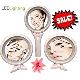 Free Standing Makeup Mirror & Hand Mirror LED Lighted. Cosmetic Mirror for Vanity Bathroom Desktop Shower Table Office. White Compact & Illuminating Best Magnifying Mirror 1x / 5x Great Travel Mirror