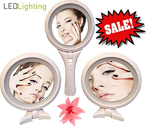 Free Standing Makeup Mirror & Hand Mirror LED Lighted. Cosmetic Mirror for Vanity Bathroom Desktop Shower Table Office. (Travel Lit Magnifying Mirror 5x)