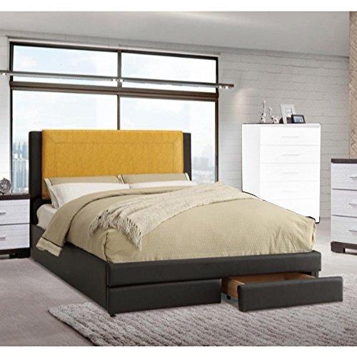 Benzara BM168646 Queen Wooden Bed with Citrus Headboard & Un