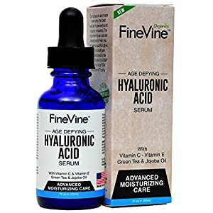 Hyaluronic Acid Serum for Skin - Made in USA - Anti-Aging Serum for Intense Hydration, Moisturizer, Reduces Wrinkle and Plumps Face to Fill-in Fine Lines - Best Natural Moisturizing Facial Care.