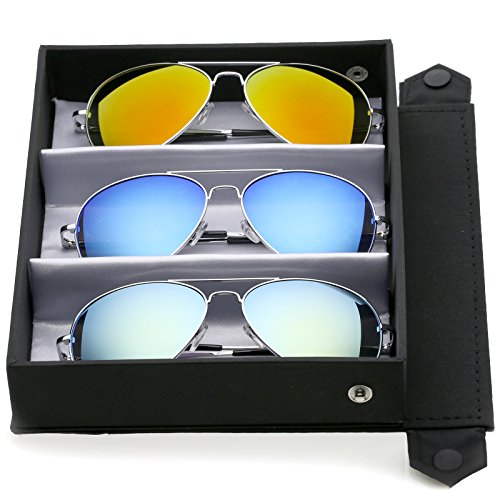 zeroUV - Premium Full Mirrored Aviator Sunglasses w/Flash Mirror Lens (3-Pack Deluxe Silver | Orange + Blue + Yellow)