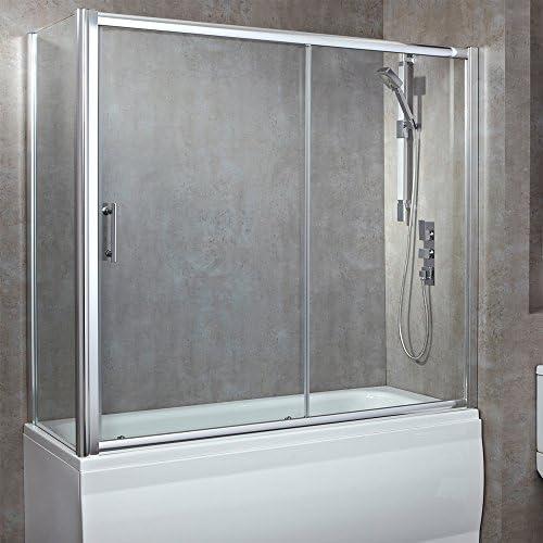 1700 mm (W) X 750 mm (D) más de mampara de baño de lujo con sola puerta corredera (8 mm de vidrio de seguridad templado): Amazon.es: Hogar