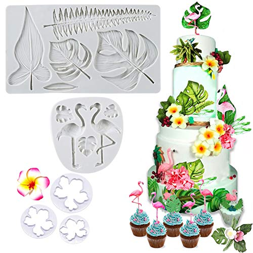 SAKOLLA Hawaiian Tropical Theme Cake Fondant Mold - Flamingo Palm Leaves Coconut Tree Leaves Flowers Candy Chocolate Mold for Summer Luau Cake Decorating