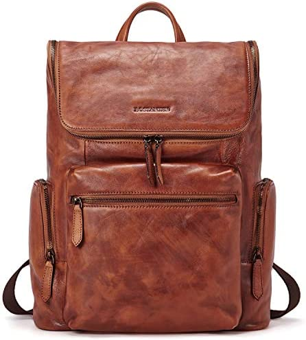 BOSTANTEN Men Leather Backpack 15.6 inch Vintage Laptop Backpack Travel School Shoulder Bag Brown