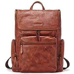 """BOSTANTEN Men Leather Backpack 15.6 inch Vintage Laptop Backpack Travel School Shoulder Bag Brown Brown Brown (L)15.35""""inch x (W)4.72""""inch x (H)12.59""""inch"""