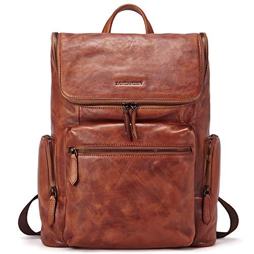 BOSTANTEN Men Leather Backpack 15.6 inch Vintage Laptop Backpack Travel School Shoulder Bag Brown