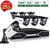 CANAVIS 1080P PoE Security Camera System, 8 Channel NVR Recorder (4) 2MP 1920x1080p Surveillance CCTV Bullet IP Camera Outdoor/Indoor with 100ft Long Night Vision (POE Camera+2TB)