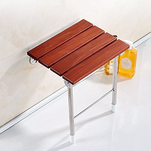 YAOHAOHAO Brown Bathroom Foldable Seat Safety Non-slip Shower Chair Wall Stool Change The Shoe Stool Be Applicable Old Man Pregnant Women by YAOHAOHAO