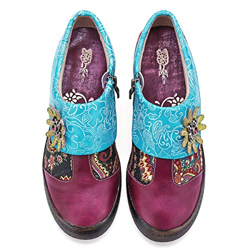 Vintage Handmade Flower Loafer Flat Shoes Anti Slip Espadrilles Dance Shoes Hook Loop Wedge Heel Mary Jane Shoes Comfort Work Shoes 2019 Oxfords Walking Shoes gracosy Womens Leather Moccasins Shoes