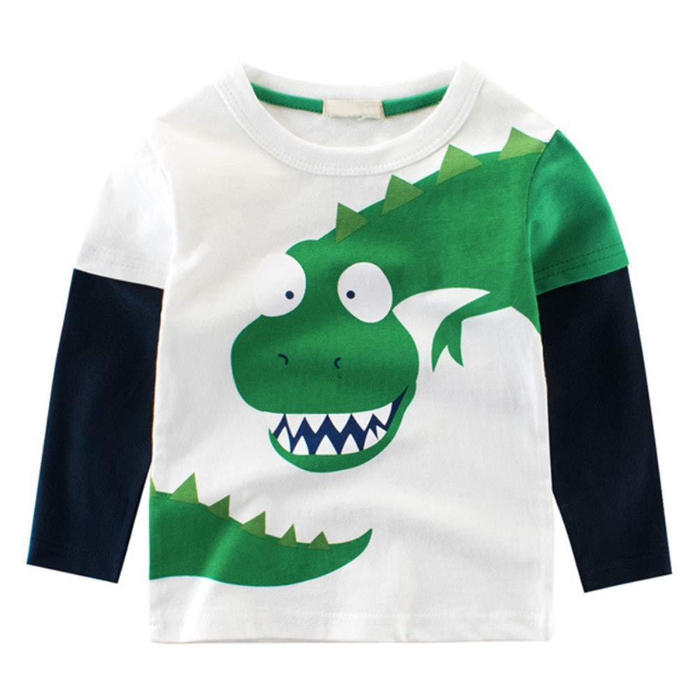 BOBORA Baby Boy Kids Long Sleeve Dinosaur T-Shirt Children Cartoon Cotton Sweatshirts Tops for 1-10Years BO-UK956
