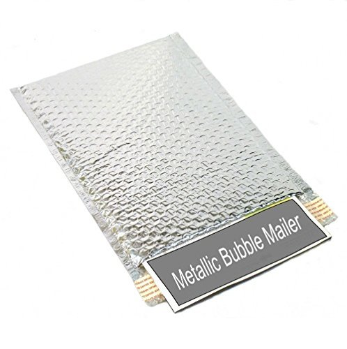 Metallic Glamour Bubble Mailers Padded Envelopes Shipping Mailing Bags Silver - 13.75'' X 11'' 400 / Case by PackagingSuppliesByMail