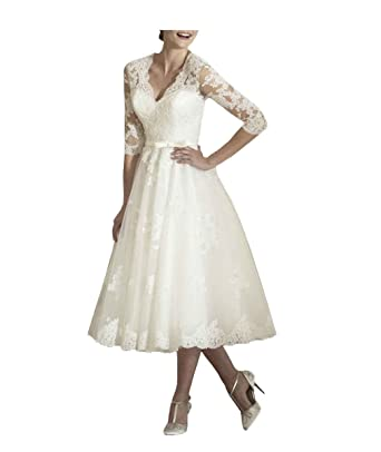 14974e59c567 JQLD Womens Tea Length Lace Wedding Dresses Sleeves V Neck A Line Bridal  Gown US2 Ivory
