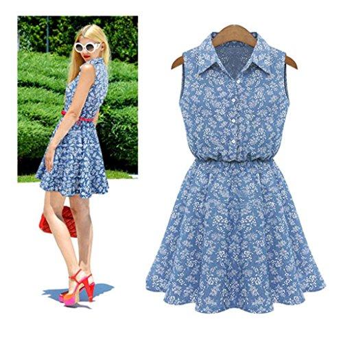XILALU Summer Fashion Women Lady Lapel Sleeveless Casual Slim Denim Dress - Trim Denim Up Skirt Lace