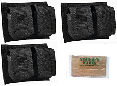 3-Pack HKS 100B Universal Speedloader POUCHES Cordura Black + Nimrod's Wares Microfiber Cloth (Double Pouch Hks)