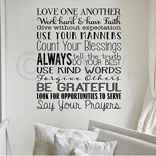 Love One Another (House Rules) wall sayings vinyl lettering home decor stickers appliques quotes