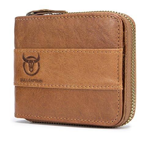 Mens Wallet, NaSUMTUO RFID Blocking Minimalist Vintage Cowhide Leather Wallet