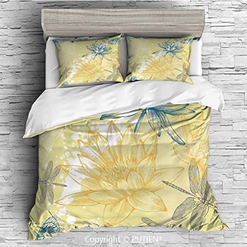 KING Size Cute 3 Piece Duvet Cover Sets Bedding Set Collection [ Dragonfly,Boho Style Plants and Spiritual Dragonflies Sketchy Illustration,Yellow White Petrol Blue ] Comforter Cover Set for Kids Girl ()