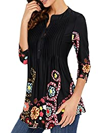 Womens 3/4 Sleeve Roundneck Floral Tunic Tops Loose Blouse Button Up Shirts