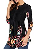 Ray-JrMALL Womens 3/4 Sleeve Boatneck Floral Tunic Tops Pleated Tunic Blouse Button Ups, Black1, Small