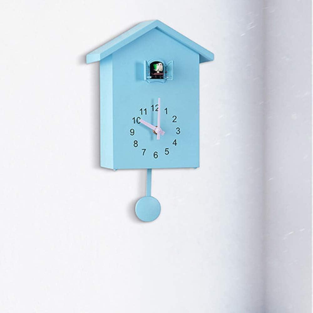 OUJIE Cuco Reloj De Pared,Estilo Nórdico 7 Puntos A 20 Puntos Pajarito por La Ventana Hora Informe Reloj T60 Dormitorio Plastico Forma del Techo Reloj De Péndulo,Azul