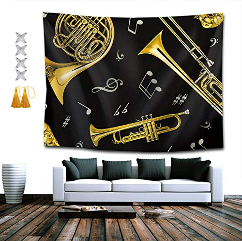 2 Horn 90x40 - BOYOKO ME Tapestry Queen Trumpet Trombone French Horn Wall Decor Mandala Beach Bedspread Intricate Indian Bedspread Tapestries 40 x 60 Inches