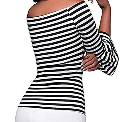 Off vases Top pour Femme Femme Noir Manches pour avec et Rayures paule Fin Small Heecaka Blanc Multicolore nwqAXII