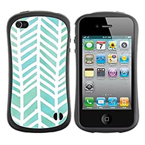 LASTONE PHONE CASE / Suave Silicona Caso Carcasa de Caucho Funda para Apple Iphone 4 / 4S / Watercolor White Green Pattern
