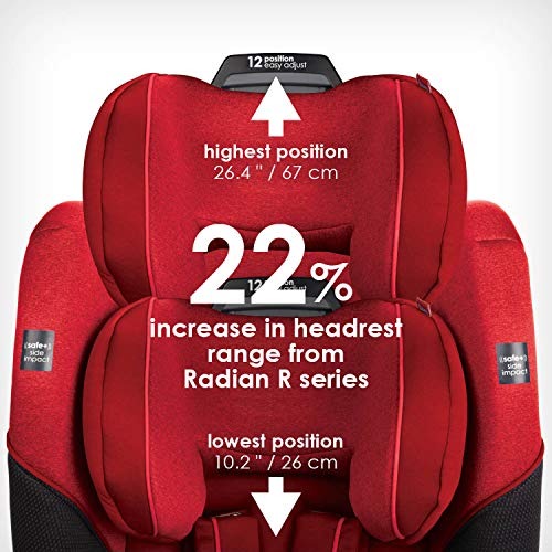 51020K8G6VL - Diono Radian 3QX 4-in-1 Rear & Forward Facing Convertible Car Seat | Safe+ Engineering 3 Stage Infant Protection, 10 Years 1 Car Seat, Ultimate Protection | Slim Design - Fits 3 Across, Red Cherry