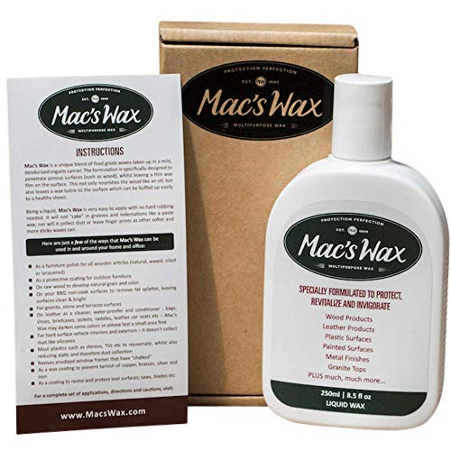 Mac's Wax Multipurpose Liquid Wax, Wooden Furniture Polish, Leather Conditioner, Stainless Cleaner and Surface Restoration Treatment for a Very Wide Variety of Interior and Outdoor Items. 8.5 Ounces (Furniture Polish Outdoor)