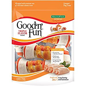Good 'N' Fun Rawhide Bones, Triple Flavor Chews, 6-Count