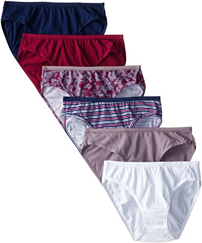 Fruit of the Loom Women's 6-Pack Assorted Colors Cotton Bikini Panties, Medium (6)