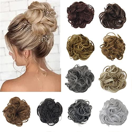 wanjulxl Tousled Messy Hair, Elastic Rubber Band Wavy Extensions Synthetic Hair Extensions, Synthetic Donut Hair for Women Girls(A)