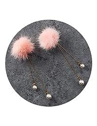 New Pearl Tassel Mink Fur Stud Earring Set Winter Soft Pompon Party Girl New Year Gift
