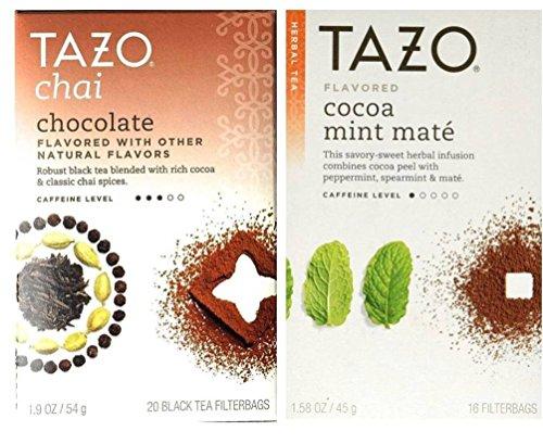 Tazo Flavored Tea 2 Flavor Variety Bundle; (1) Tazo Chai Chocolate Black Tea, and (1) Tazo Cocoa Mint Mate Herbal Tea, 1.58-1.9 Oz. Ea.