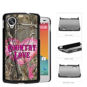 Camo Tree Pink Heart & Deer Head Country Love Nexus 5 Hard Snap on Plastic Cell Phone Cover