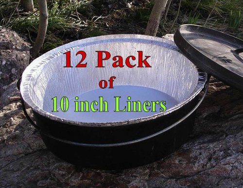 "Disposable Foil Dutch Oven Liner, 12 Pack 10"" 4Q liners, No more Cleaning, Seasoning your Dutch ovens. Lodge, Camp Chef. 12-10"