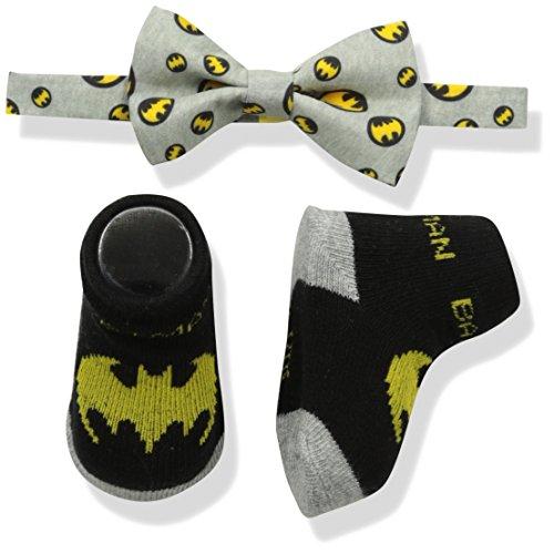DC Comics Baby Boys Superhero Bowtie & Sock Set, gray Bowtie/black Socks/Batman, 0-12M