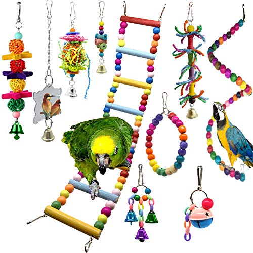SHANTU Parrot cage Toys Bird Swing Toys Bells Bird Perch with Natural Wood Beads Bells Hanging Toys for Budgie Lovebirds Conures Parakeet African Greys Amazons Eclectus Cockatoos (10 Packs)