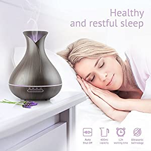 Aromzen Essential Oil Diffuser 400ML Aroma Dark Wood Grain Ultrasonic Ionizer Cool Mist Humidifier for Aromatherapy, Quiet, Waterless Auto Shut-off, Vase Shape, 7 Color LED Lights for Large Room Home