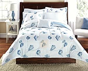 Seashells, Beach Themed, Nautical Full Comforter Set (8 Piece Bed In A Bag)