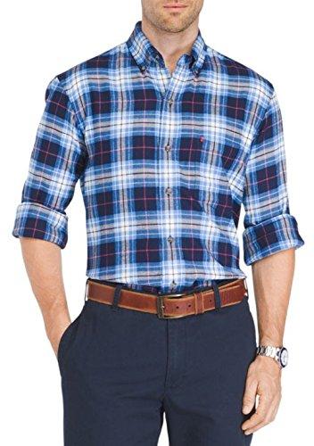 IZOD Long Sleeve Button-Down Flannel Shirt (Peacoat, - Flannel Izod