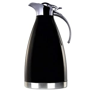 BonNoces 68 Oz Thermal Carafe/Coffee Carafe - 2L Stainless Steel Double Wall Vacuum Insulated Thermos Pot - Metal Lid and Handle, Food Grade Silicone (Black)